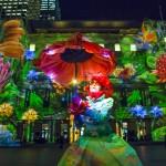 Street artist Monet outside Customs House for a preview of Vivid Sydney