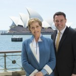Dame Julie Andrews, with NSW Minister for Trade, Tourism and Major Events Stuart Ayres, in Sydney to cast the 60th Anniversary production of Lerner and Loewe's masterpiece My Fair Lady. Credit Destination NSW.