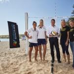 Vollyfest launch: Mariafe Artacho del Solar, Nicole Laird, NSW Premier Mike Baird, Kerri Pottharst, Natalie Cook