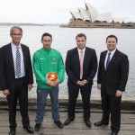 Image L-R: FFA CEO David Gallop, Socceroo Mark Milligan, Socceroos Head Coach Ange Postecoglou, Minister for Trade, Tourism and Major Events and Minister for Sport Stuart Ayres