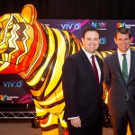 Caption: Minister for Trade, Tourism and Major Events Stuart Ayres and Premier Mike Baird at Vivid Sydney 2016 launch.